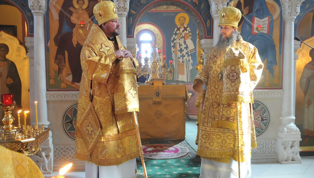 Божественную литургию совершили митрополит Корсунский и Западноевропейский Иоанн и митрополит Архангельский и Холмогорский Даниил