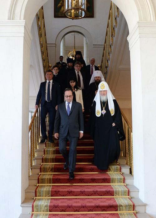 Святейший Патриарх Кирилл встретился с Президентом Франции